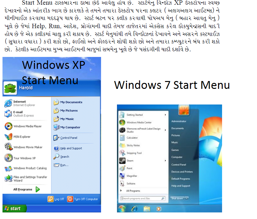 Introduction to Start Menu in Windows XP and Windows 7 (Article in Gujarati)